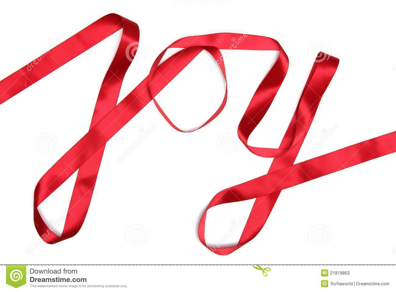 Joy Word Written In Red Ribbon Stock Photos   Image  21819863