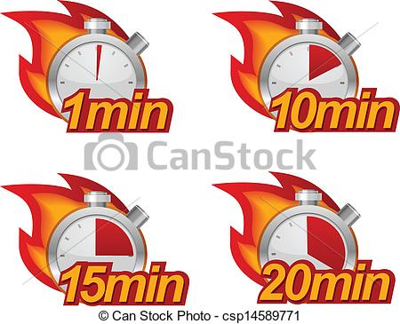 Minute 10 Minutes 15 And 20 Minutes Timers With Fire On Background