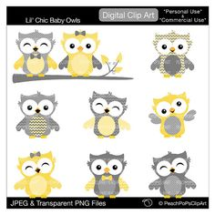 Owl Clip Art Digital Clipart   Lil Chic Baby Owls   Yellow And Gray