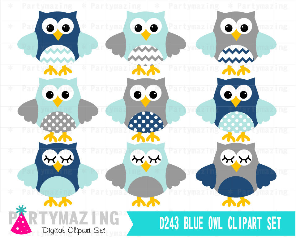 Owl Clipart Cute Owl Navy Blue And Gray Clip Art By Partymazing