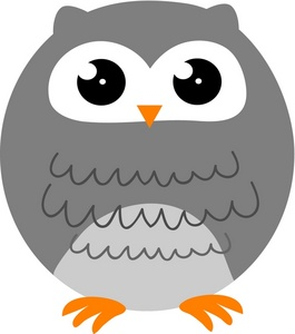 Owl Clipart Image   A Gray Cartoon Owl With Large Eyes