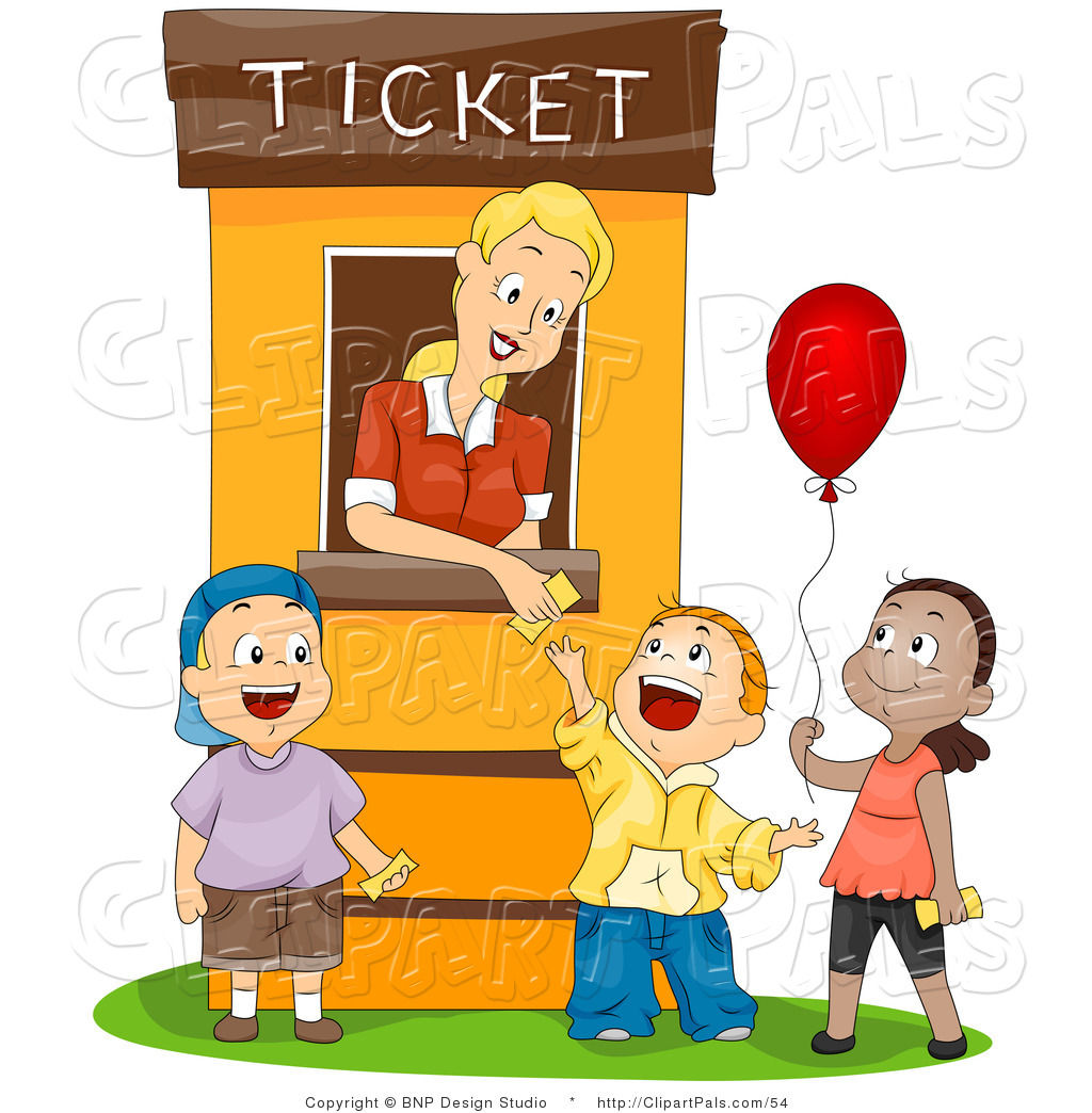 Pal Clipart Of A Ticket Booth Woman Helping Three Kids By Bnp Design