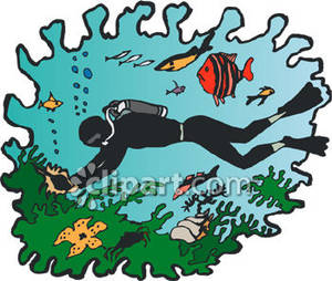 Scuba Diver Deep Sea Diving   Royalty Free Clipart Picture
