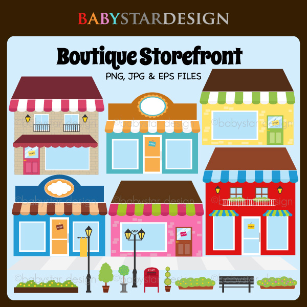 Boutique Storefront 2     6 00   Babystar Design Digital Clipart And