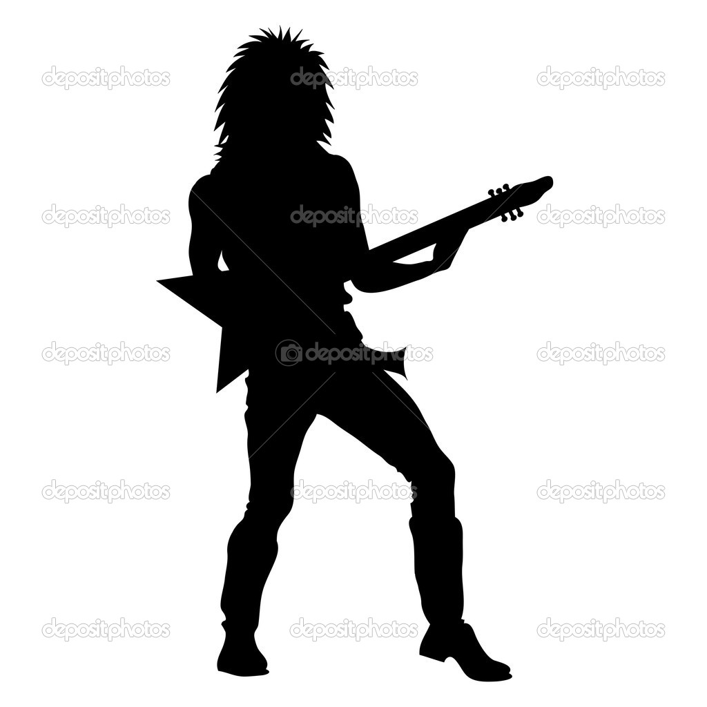 Clip Art Illustration Of A Rock Star Playing Guitar Silhouette   Stock