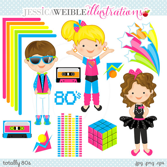 Digital Clipart   Commercial Use Ok   80s Graphics 80s Clipart 80s