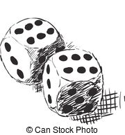 Rough Monochrome Sketch   Two Dices Stock Illustration