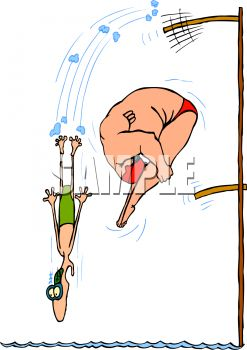 Skinny Guy And Fat Guy Jumping Off Diving Boards Clipart Image Jpg