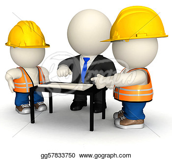 Stock Illustration   3d Engineer With Workers  Clipart Drawing