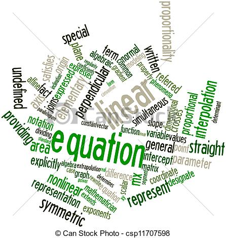 Stock Illustration Of Word Cloud For Linear Equation   Abstract Word