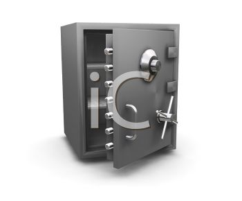 3d Bank Safe With The Door Open   Royalty Free Clipart Image