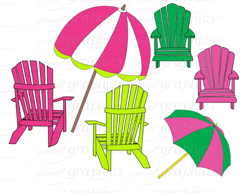 Beach Chair Clip Art Beach Umbrella Clip Art Digital Clipart