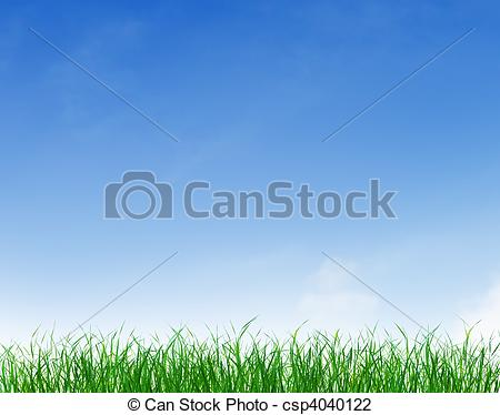 Clear Sky   Green Grass Growing Under    Csp4040122   Search Clipart