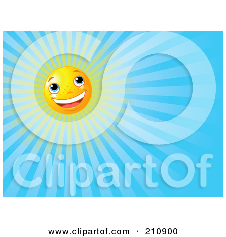 Clipart Illustration Of A Cheery Sun Face Shining In Clear Blue Sky