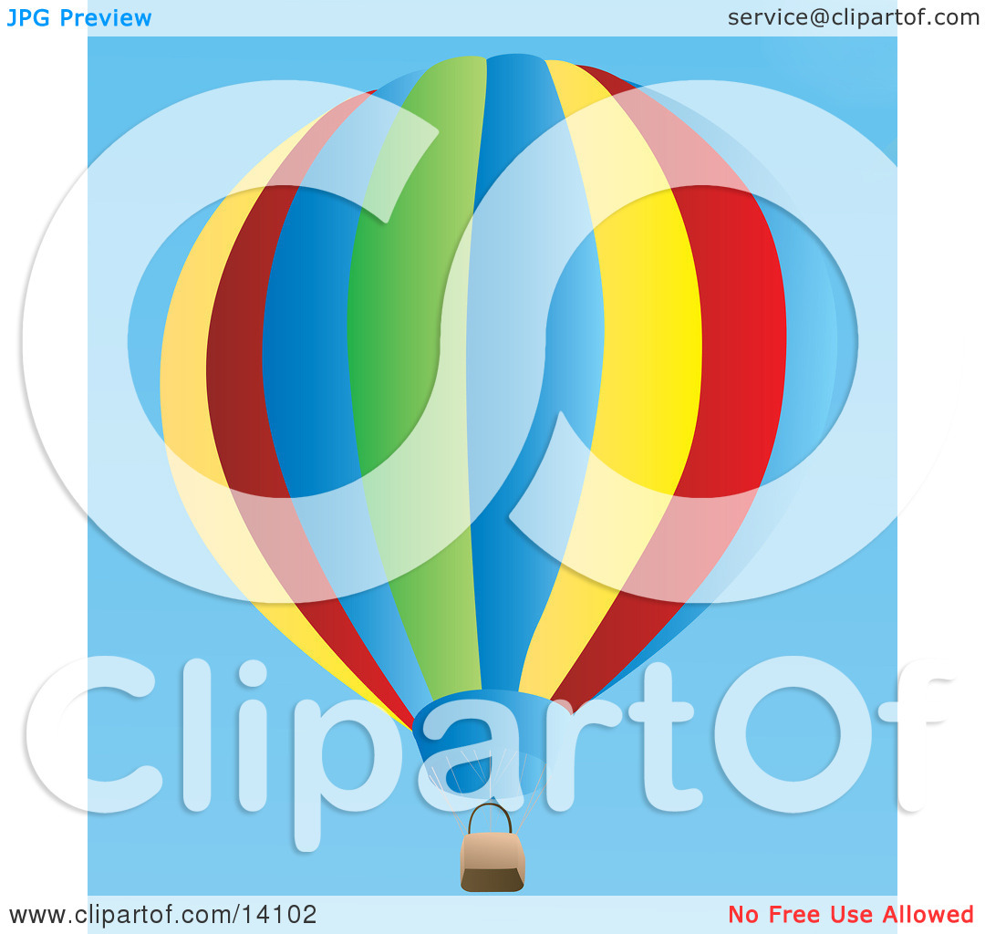 Colorful Hot Air Balloon Floating In A Clear Blue Sky Aviation Clipart