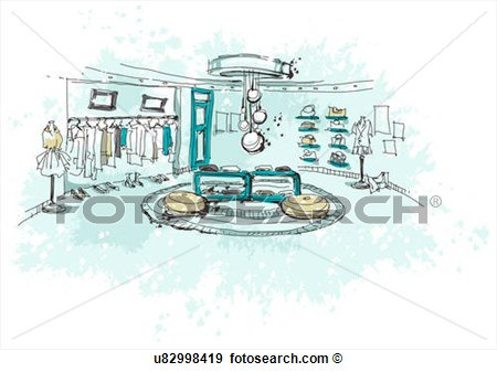 Illustration   Clothes Showroom  Fotosearch   Search Vector Clipart