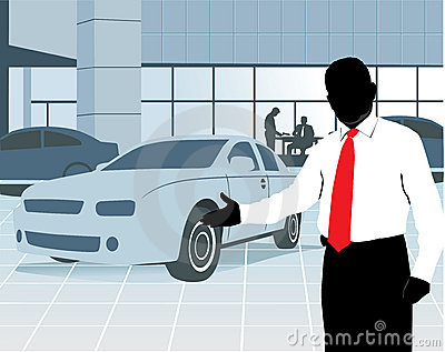 Of A Car Salesman Inviting To Watch The Cars At The Showroom