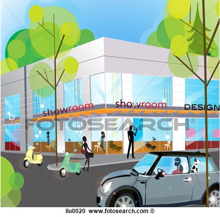 Of A Design Showroom On A Busy City Corner Llu0020   Search Clipart