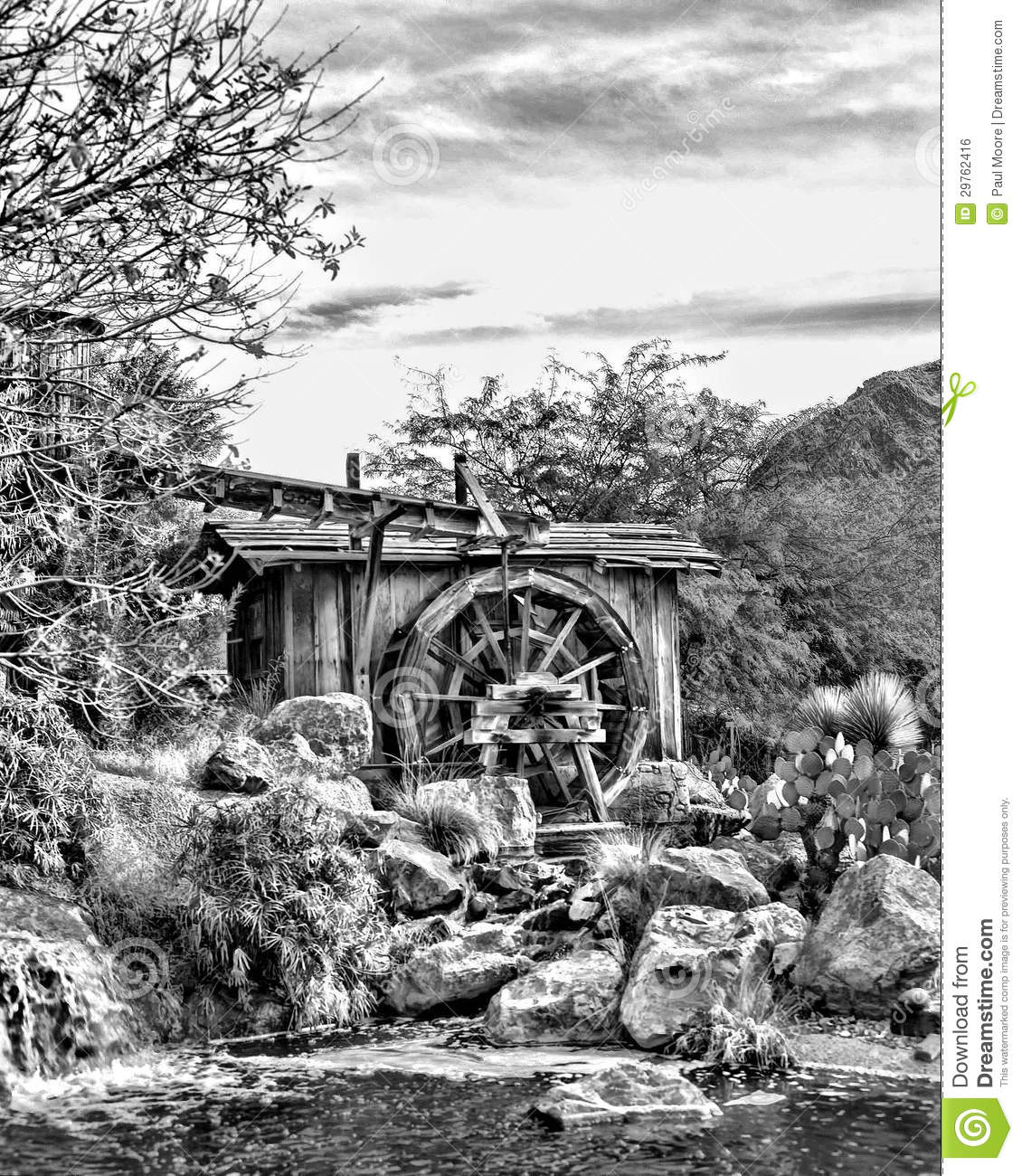 Old Mill And Water Wheel In Black And White