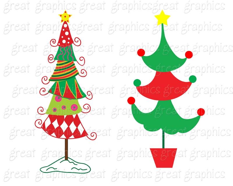 whimsical christmas tree clip art free - photo #7