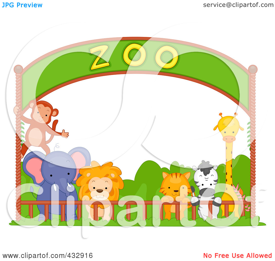 Royalty Free  Rf  Clipart Illustration Of Zoo Animals Under A Banner