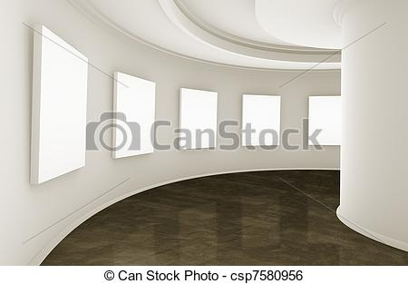 Stock Illustration Of Showroom Or Gallery   3d Empty Showroom With