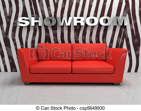 Stock Illustration Of Virtual Showroom With Red Sofa And Wall With