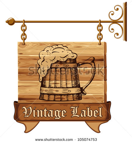 Vector Download   Wooden Pub Sign With Mug Of Beer