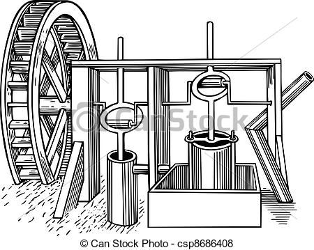 Vector Of Water Mill   Old Wooden Water Mill On White Background