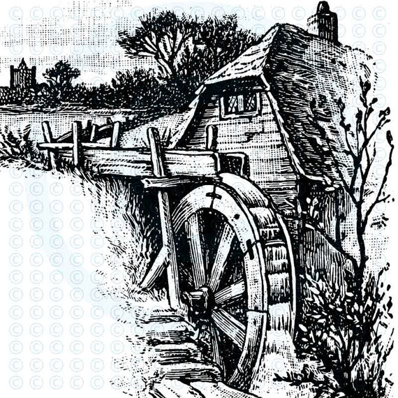 Waterwheel Gristmill Mill Barn Rural Scene Corners Individual Digital