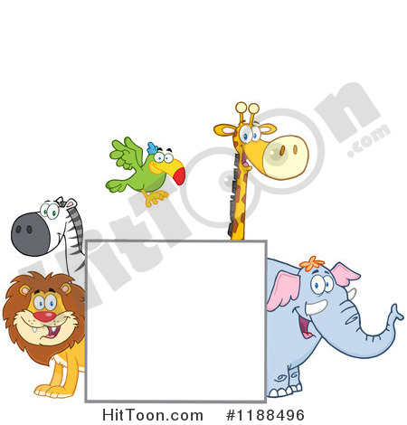 Wildlife Clipart  1188496  Square Sign And Happy Zoo Animals By Hit