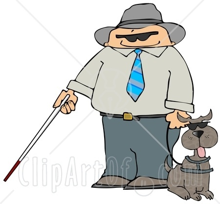 10756 Blind Man With A Cane And Guide Dog Clipart Illustration Jpg