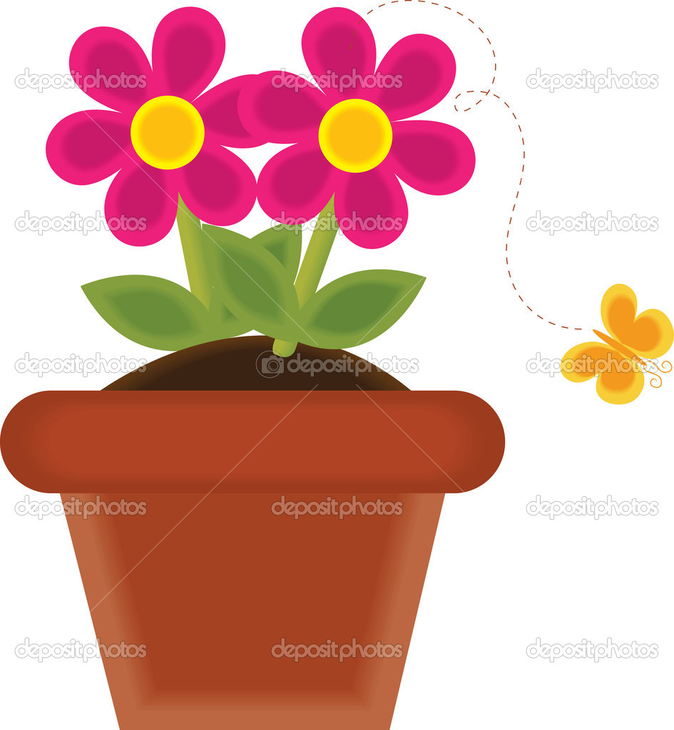 Art Illustration Of A Spring Flower Growing In A Pot   Stock Image