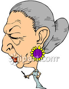 Caricature Of A Rich Old Woman   Royalty Free Clipart Picture