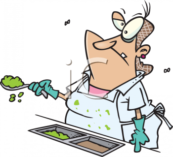 Clipart Cartoon Picture Of A Lunchroom Lady With Flies