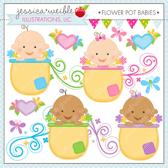 Flower Pot Babies Cute Digital Clipart Commercial Use Ok Baby Clipart