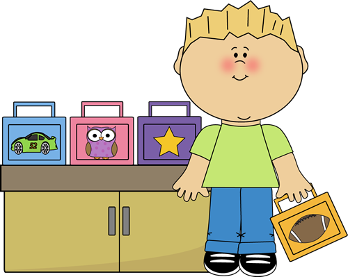 Lunch Box Monitor Clip Art Image   Boy With A Lunch Box Standing At A