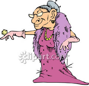 Rich Old Woman Showing Off Her Diamond Ring   Royalty Free Clipart