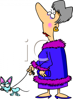Royalty Free Clipart Image  Cartoon Of A Rich Woman Walking Her