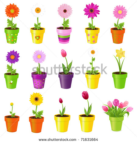 Spring Flower Pot Clipart Spring Flowers In Pots