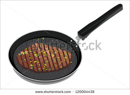 Tasty Beef Steak Grilling In A Cast Iron Ribbed Fry Pan Stock Vector