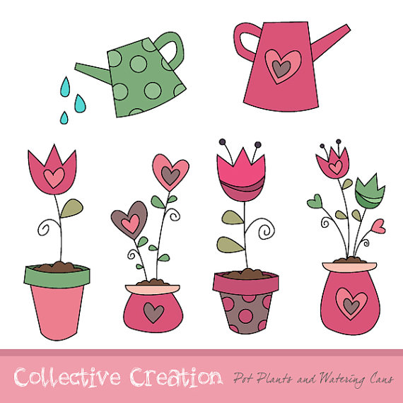 Tulip And Heart Flower Pot Plants With Watering Cans Digital Clipart