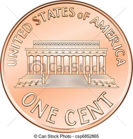 Vector   Vector American Coin One Cent Penny   Stock Illustration