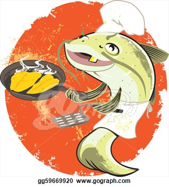 What S The Catfish Fry Cook Frying Up   Clip Art Gg59669920