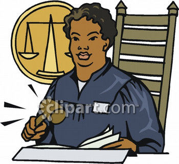 American Female Judge Banging Her Gavel   Royalty Free Clipart Picture