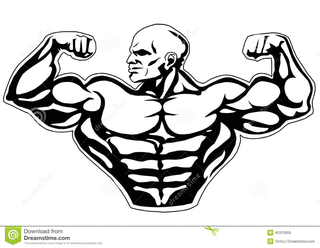 Big Biceps Isolated On A White Illustration