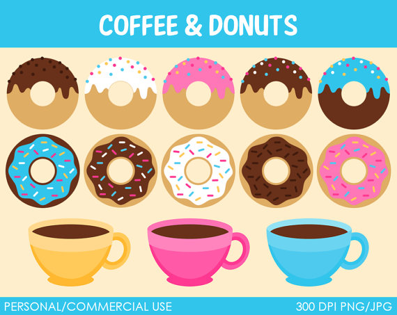 Donuts And Coffee Clipart   Digital Clip Art Graphics For Personal Or