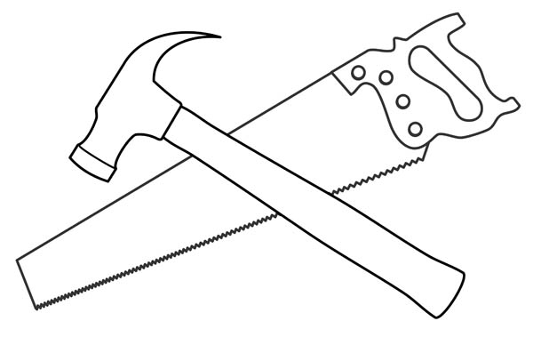 Clip Art Clip Art Hammer saw and hammer clipart kid illustration of common hand tools a hammer