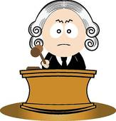 Judge Using His Gavel   Royalty Free Clip Art