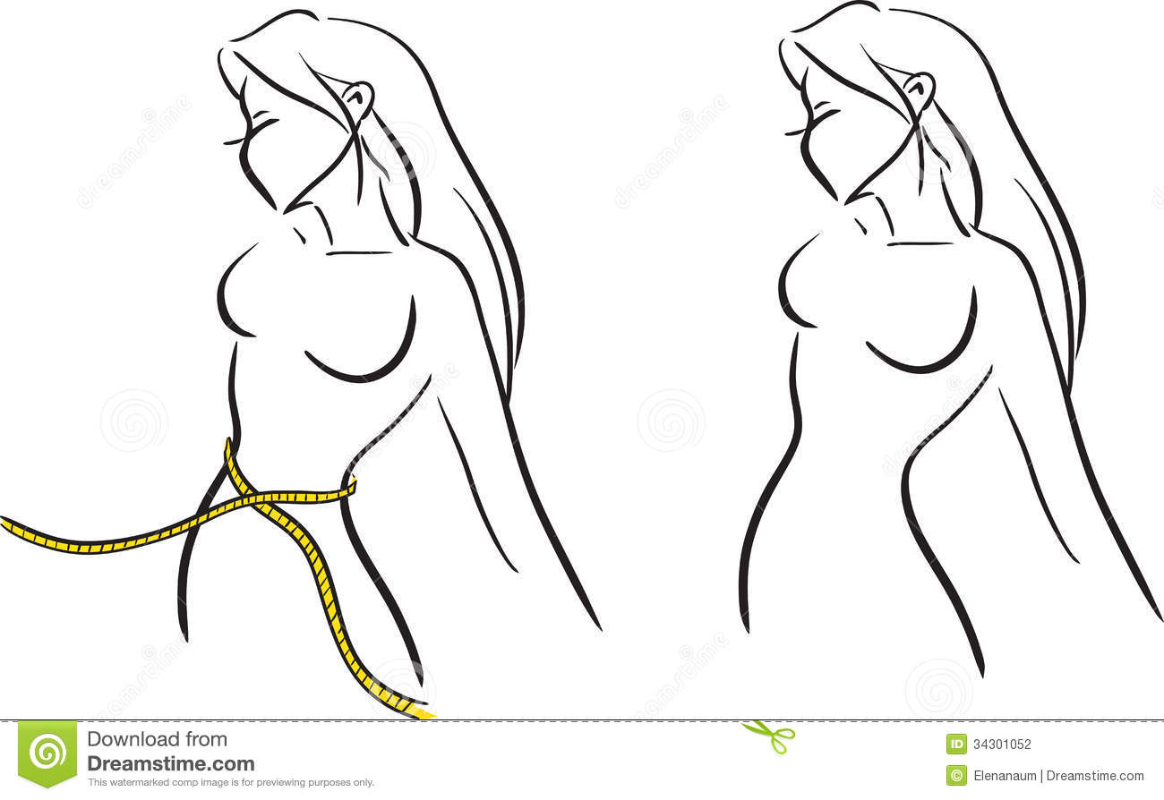 The Symbolical Image With The Girl Measuring A Waist By Tape  Vector